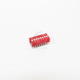 撥碼開關 直插平撥 2.54間距/8位/8P(紅色-鍍金) 指撥 撥動開關