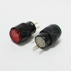 4P 丸型按式照明開關 24V 有段 紅色