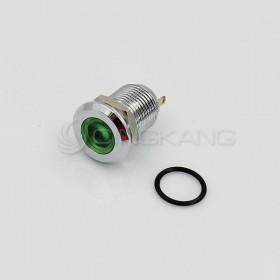 12V 12mm防水不鏽鋼金屬平面-綠色(焊線式)