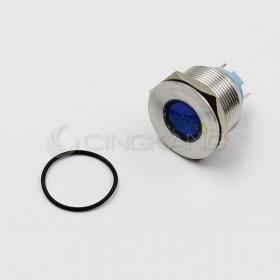 12V 22mm防水不鏽鋼金屬平面-藍色(焊線式)