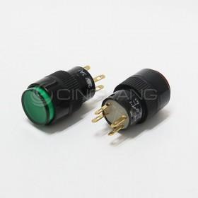 4P 丸型按式照明開關 24V 有段 綠色