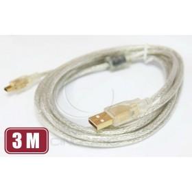 USB A公-迷你5PIN公鍍金透明傳輸線3M(UB-225)