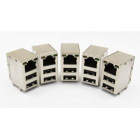 USB雙層+RJ45 帶燈網絡插座(5入)