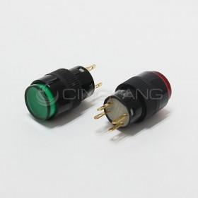 4P 丸型按式照明開關 12V 有段 綠色