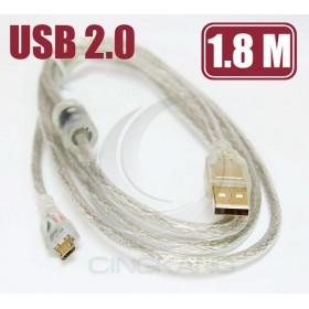 2.0 A公/Micro B公鍍金透明傳輸線 1.8M(UB-272)