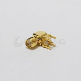SMA母座立式鍍金 90度L型 (外牙母針)
