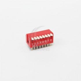 撥碼開關 直插側撥(琴鍵式) 2.54間距 8P 8位 指撥 撥動開關