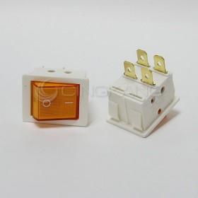 4P2段 白殼黃燈翹板開關 ON/OFF 110/220V