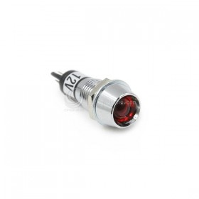 井型銅指示燈12V-紅色 牙8mm 長30.5mm (鎢絲燈)