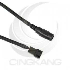 DC5.5*2.1mm轉3PIN風扇線 長度30CM(蛇皮網)