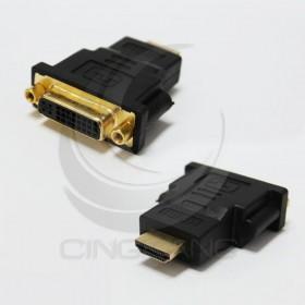 鍍金DVI母(24+5)轉HDMI公 轉接頭