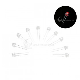 LED燈珠5mm-白色發紅光 草帽短腳 (10入)
