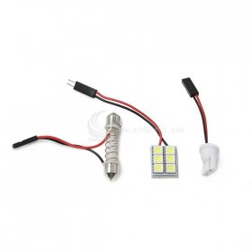 5050白光 DC12V 6晶(附BA9S、T10、彈簧雙尖座)