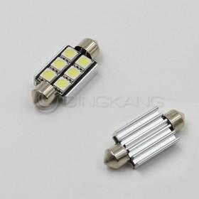 5050(白光)雙尖頭含散熱片 39mm LED 6晶 DC12V