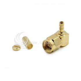 SMA公頭鍍金 夾式-RG174(內牙公針) 90度