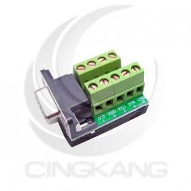 免焊接頭 RS232接頭 DB9母 轉接 綠色端子台