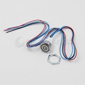 19mm天使眼開關(電源符號/有段) 白色帶線12V(防水鋅合金)