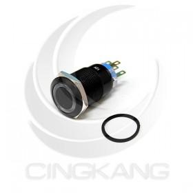 19mm銅鍍鉻(黑) 平面環形燈-藍色 DC12V 有段天使眼開關