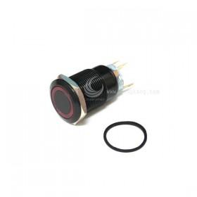 19mm銅鍍鉻(黑) 平面環形燈-紅色 DC12V 有段天使眼開關