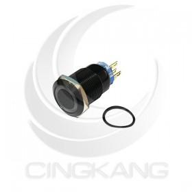 19mm銅鍍鉻(黑) 平面環形燈 無段天使眼開關-白色 DC12V