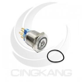 22mm不鏽鋼金屬 平面電源燈 無段天使眼開關DC12V藍光 2203A