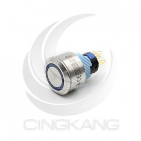 22mm不鏽鋼金屬 圓邊框 平面環形燈 有段天使眼開關-DC12V 藍光