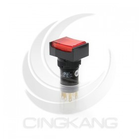 16mm 照燈按鈕紅 長方型 1A1B 維持 28V 鎢絲燈
