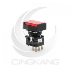 和泉 16/長方形照光按鈕LED 24V 1C紅色