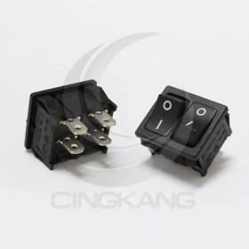 4P2段 ON-OFF 雙體開關  (黑色) 6A 250VAC / 10A 125VAC (ROSH)