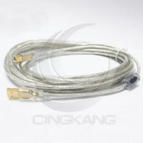 USB 2.0 A-B鍍金透明線5M(UB-221)
