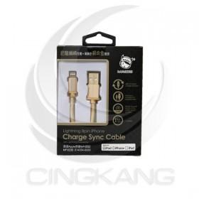 i phone(IOS) 鋁頭編織傳輸充電線-1.2M(金色)原廠MFI認證/中國製