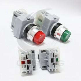 凸頭按鈕-綠色 22mm(1a)