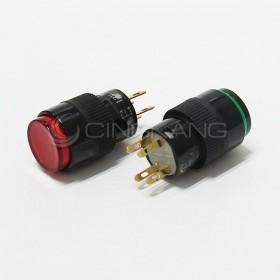4P 丸型按式照明開關 12V 有段 紅色
