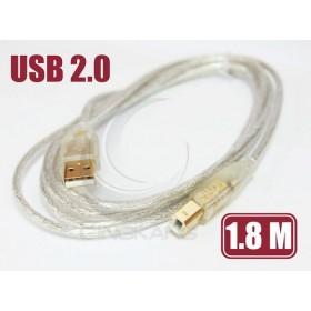 US-48 USB 2.0 A公-B公鍍金透明傳輸線1.8M