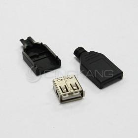 USB三件套插座 A母頭銲線式帶塑膠殼(2入)