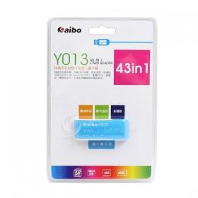 AIBO Y013 精緻記憶卡多合一讀卡機-藍色