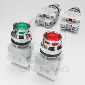 30 LED平頭照光按鈕-紅 220V 1b
