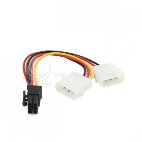 大4P公x2轉PCI-E 6P顯示卡電源線 (PR-32)