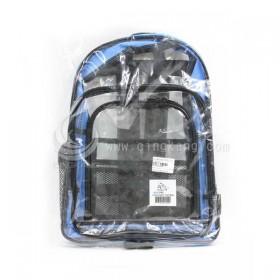 無塵室工具後背包 420 x 300 x 100mm 透明 側邊為水藍色