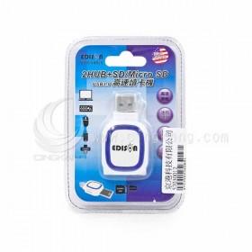 EDS-USB25愛迪生 2HUB+SD/Micro SD 高速讀卡機USB3.0