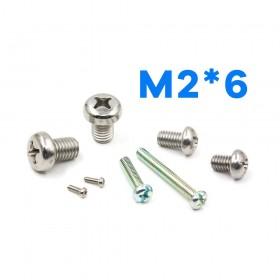 白鐵丸頭十字螺絲 M2*6 (10pcs/包)