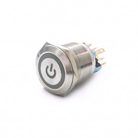 22mm不鏽鋼金屬平面電源燈有段開關-DC24V 藍光