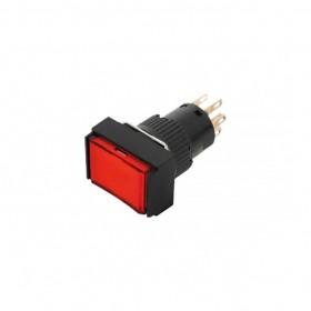 天得 16 長方形復歸照光按鈕(紅) LED 24V 2A2B IP40
