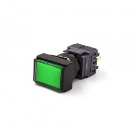 SENO 16mm長方形按鈕開關 短弧鈕覆歸 24V 綠色