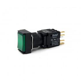 TN16-MLL47G1 天得16mm長方形復歸照光按鈕(綠) LED 24V 1A1B