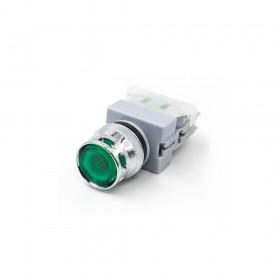 22 LED平頭照光按鈕-綠 110V 1a