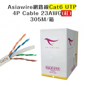 Asiawire網路線Cat6 UTP 4P Cable 23AWG(紅) 305M/箱