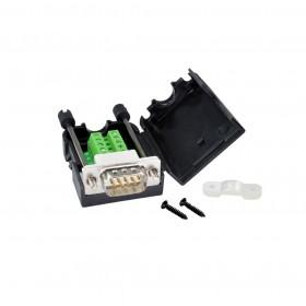 免焊接頭 RS232接頭 DB9公 轉接 綠色端子台