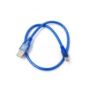 US-137 USB2.0 A公/Micro B公透明藍傳輸線 50CM