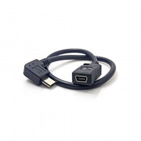 US-62 USB2.0 Micro B公90度-MINI5P母座連接線 25公分